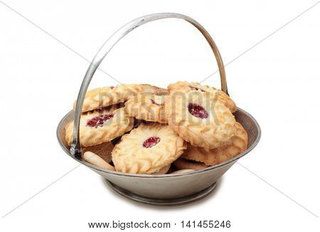 Cookies on a silver platter old on white background