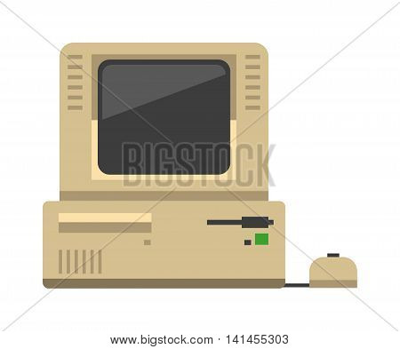 Computer technology vector evolution isolated display. Telecommunication equipment old computer pc monitor frame modern office network. Old computer device electronic black equipment space.