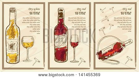 Drink menu elements. Restaurant blackboard for drawing. Hand drawn drink menu vector illustration. wine list drink menu board glass of the white wine and red wine