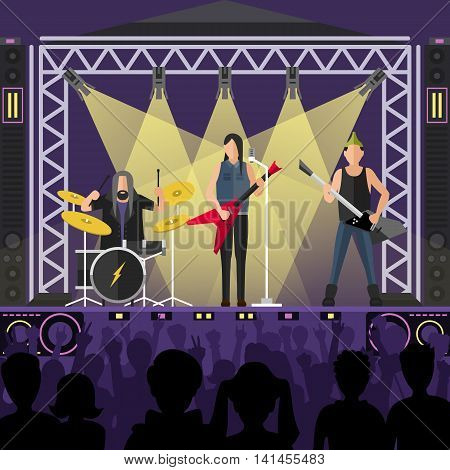 Concert pop group artists on scene, music stage and night concert music stage vector. Young pop group concert crowd in front of bright music stage lights vector illustration. Pop artists group band