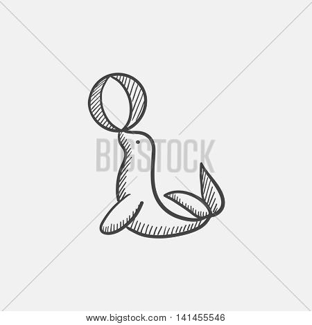 Trained fur seal playing with ball sketch icon for web, mobile and infographics. Hand drawn vector isolated icon.