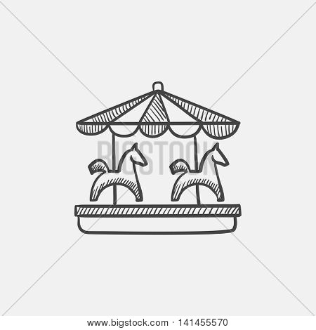 Merry-go-round with horses sketch icon for web, mobile and infographics. Hand drawn vector isolated icon.