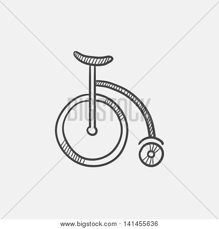 Circus old bicycle sketch icon for web, mobile and infographics. Hand drawn vector isolated icon.