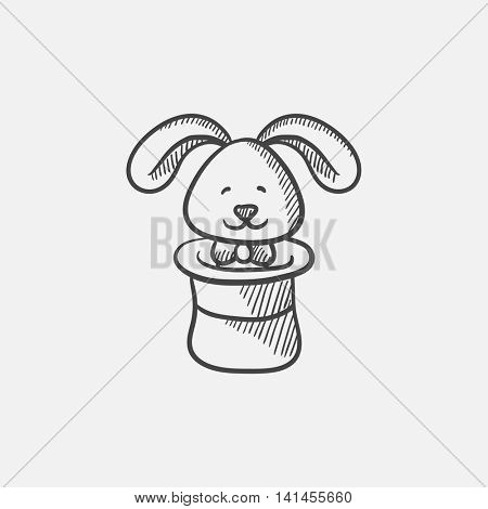 Rabbit in magician hat sketch icon for web, mobile and infographics. Hand drawn vector isolated icon.