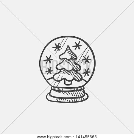 Snow globe with christmas tree sketch icon for web, mobile and infographics. Hand drawn vector isolated icon.