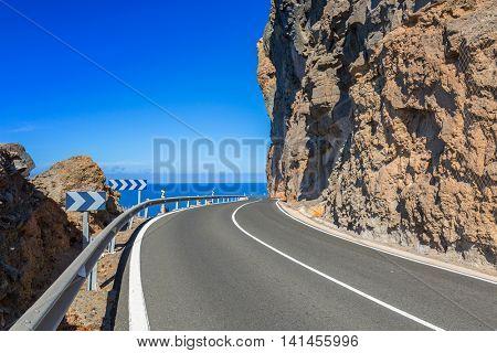 Coastline road on Gran Canaria island, Spain