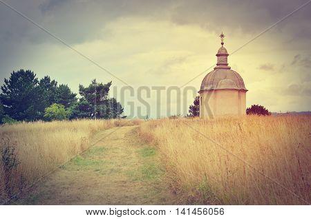 Saint Rozalia Chapel in Sopisska Kapitula Slovakia in vintage style.