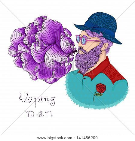 Vector hand drawn portrait of a trendy attractive vaping man. Hipster guy with purple hair beard and mustache blowing vapor cloud from an E-Cigarette. Smoking electronic cigarette.
