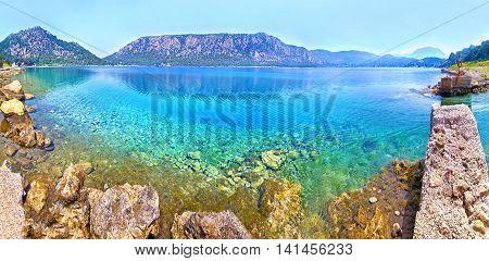 panoramic photo of Heraion lake - Vouliagmeni Loutraki Greece