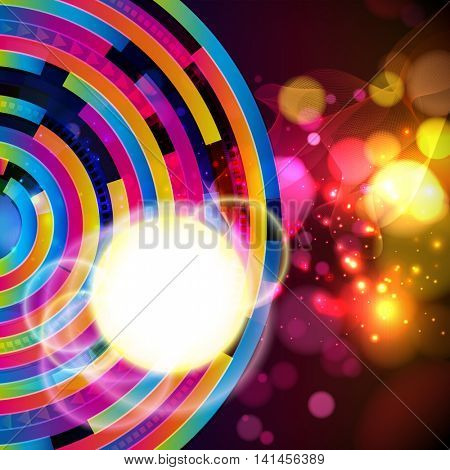 Abstract background. Colorful techno pattern on a dark. Sun and thin wavy lines and transparent circles blur.  Design card with round place for your text.