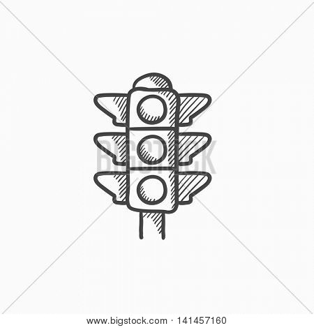 Traffic light vector sketch icon isolated on background. Hand drawn Traffic light icon. Traffic light sketch icon for infographic, website or app.