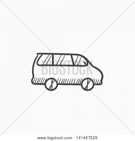 Minivan vector sketch icon isolated on background. Hand drawn Minivan icon. Minivan sketch icon for infographic, website or app.