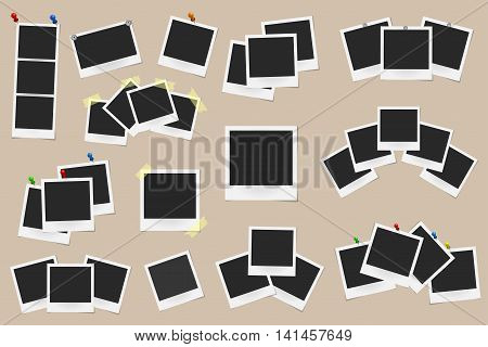 Set Of Realistic Vector Photo Frames On Sticky Tape, Pins And Rivets Isolated On Beige Background. T