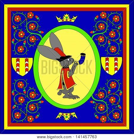 Hares musicians with  horn, and  knight  shield. Figure in the style of fairy tales of medieval Europe. Vector illustration.