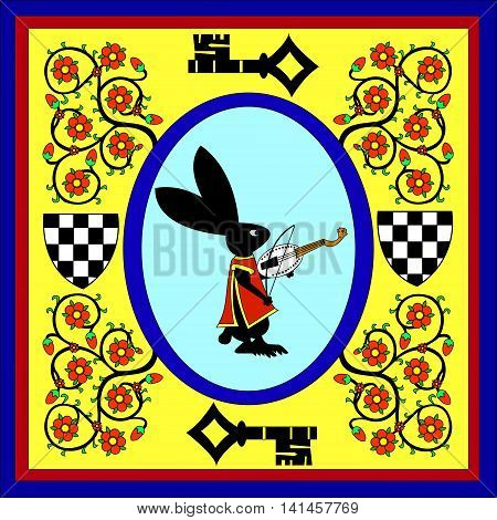 Hare the musician - violin. Figure in the style of fairy tales of medieval Europe. Vector illustration. It can be used as frame