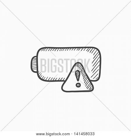 Empty battery vector sketch icon isolated on background. Hand drawn Empty battery icon. Empty battery sketch icon for infographic, website or app.