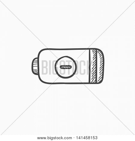 Low power battery vector sketch icon isolated on background. Hand drawn Low power battery icon. Low power battery sketch icon for infographic, website or app.