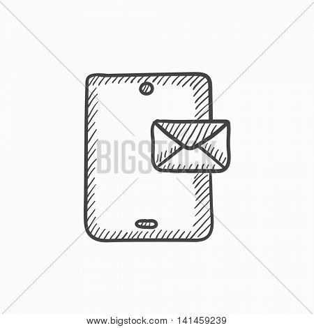 Digital tablet with message vector sketch icon isolated on background. Hand drawn Digital tablet with message icon. Digital tablet with message sketch icon for infographic, website or app.