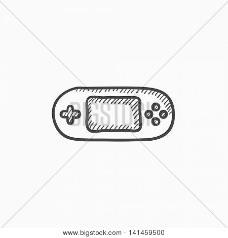 Game console gadget vector sketch icon isolated on background. Hand drawn Game console gadget icon. Game console gadget sketch icon for infographic, website or app.