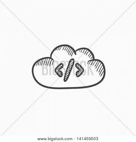 Transferring files cloud apps vector sketch icon isolated on background. Hand drawn Transferring files cloud apps icon. Transferring files cloud apps sketch icon for infographic, website or app.