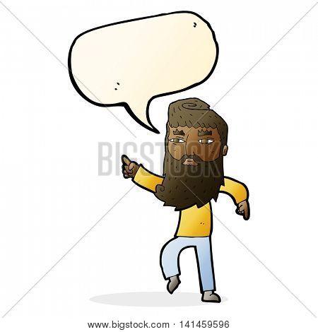 cartoon bearded man pointing the way with speech bubble