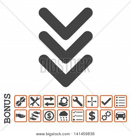 Triple Arrowhead Down icon with bonus pictograms. Vector style is flat iconic symbol, orange and gray colors, white background. Bonus style is bicolor square rounded frames with symbols inside.