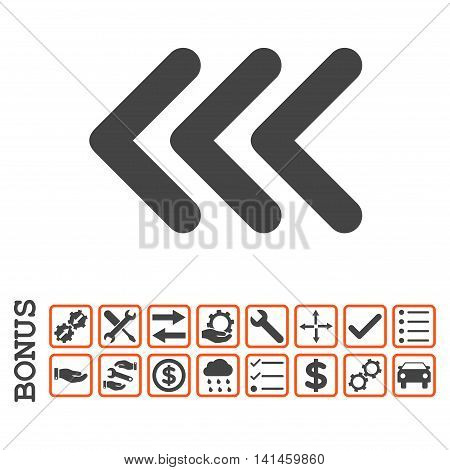 Triple Arrowhead Left icon with bonus pictograms. Vector style is flat iconic symbol, orange and gray colors, white background. Bonus style is bicolor square rounded frames with symbols inside.