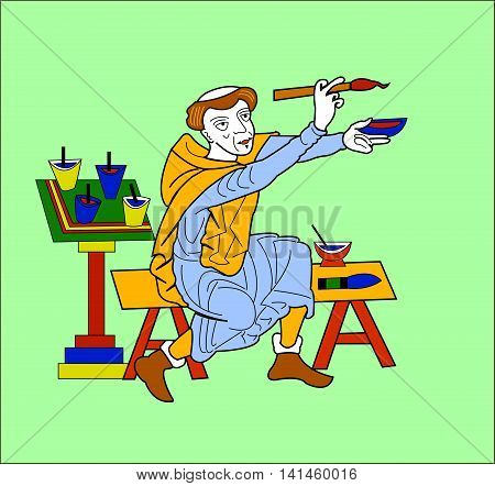 Catholic monk (painter or writer) brush painting red and blue colors sitting on a bench. Figure in the style of medieval Europe. Vector illustration.