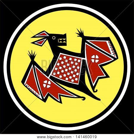 Ethnic pattern of American Indians: Aztecs, Mayans, Incas. Bat. Drawing in the Mexican style. Vector illustration