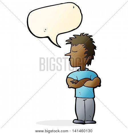 cartoon man refusing to listen with speech bubble