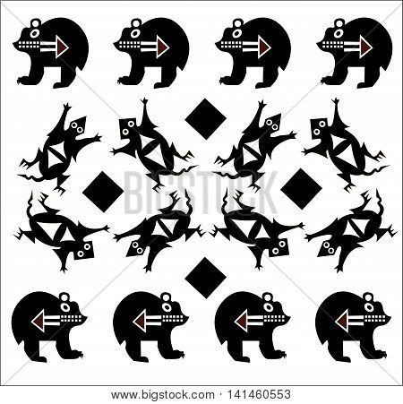 Ethnic pattern of American Indians: Aztecs, Mayans, Incas. Bear and opossum. Drawing in the Mexican style. Vector illustration.