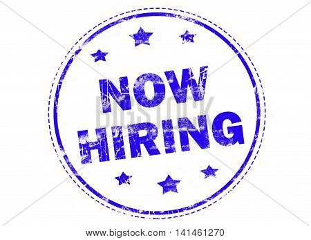 Now hiring on blue grunge rubber stamp