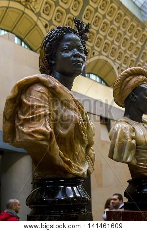 PARIS, FRANCE - MAY 14, 2015: This is exhibition of two component's sculptures in Orsay Museum one of the most famous museums in the world.