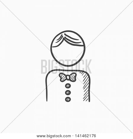 Waiter vector sketch icon isolated on background. Hand drawn Waiter icon. Waiter sketch icon for infographic, website or app.