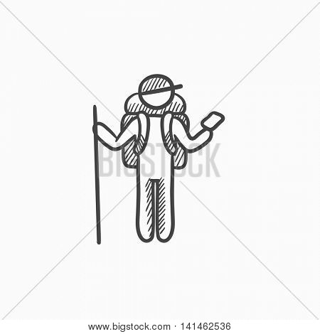 Tourist backpacker with phone vector sketch icon isolated on background. Hand drawn Tourist backpacker with phone icon. Tourist backpacker with phone sketch icon for infographic, website or app.