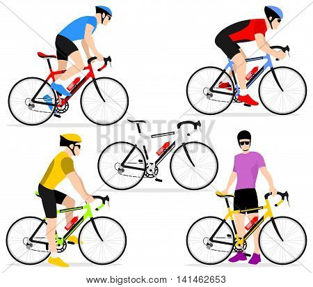 A group of cyclists in the bicycle race. Set of flat icons cyclists in a flat style