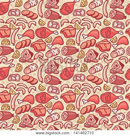Cute hand drawn seamless pattern with different types of meat. Doodle texture with sausages and wurst in cartoon style. Perfect background for wrapping and package of meat products