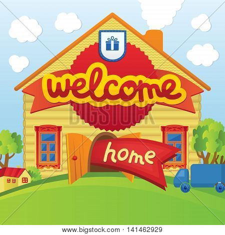 Welcome home. Illustration of a cartoon house in spring or summer season, with green lawn, trees and funny car in vector. Bright concept for a greeting card or a welcome poster