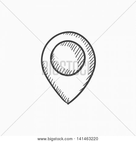 Map pointer vector sketch icon isolated on background. Hand drawn Map pointer icon. Map pointer sketch icon for infographic, website or app.