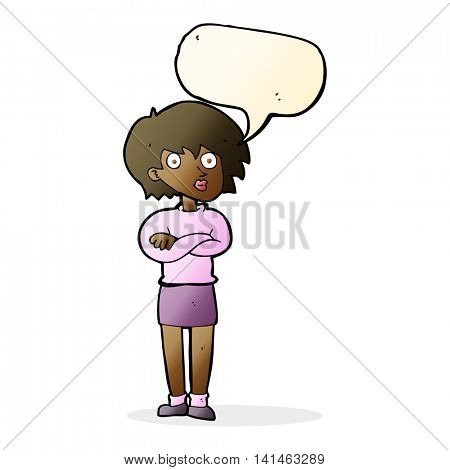 cartoon woman wit crossed arms with speech bubble