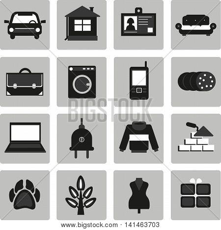 Vector set icons for ads. Selling buying. Selling buying exchange. Cars real estate clothing jobs services appliances business animals plants.