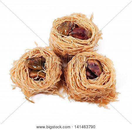 Eastern dessert baklawa with pistachio nuts, eastern sweets.