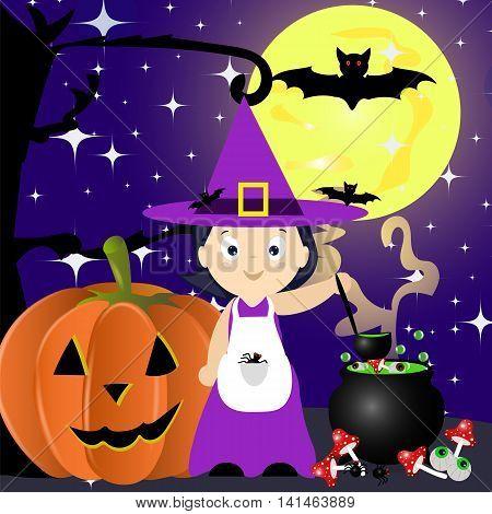 Halloween, night, magic cauldron, the little witch brews a potion, cartoon, background, card, vector illustration