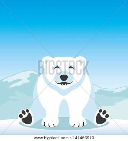 Cute polar bear sitting on the snow.