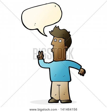 cartoon man signalling with hand with speech bubble