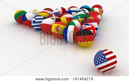 The European Union in the form of pyramids of billiard balls - before the US threat - 3D illustration
