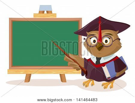 Owl teacher with book and pointer stands near blackboard. Vector cartoon illustration