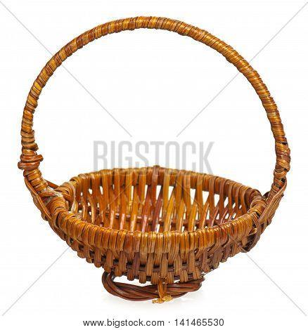 Decorative wattled basket basket isolated over white background