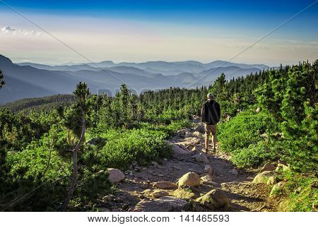 Early Morning Hiker in Rocky Mountain National Park, Colorado, USA