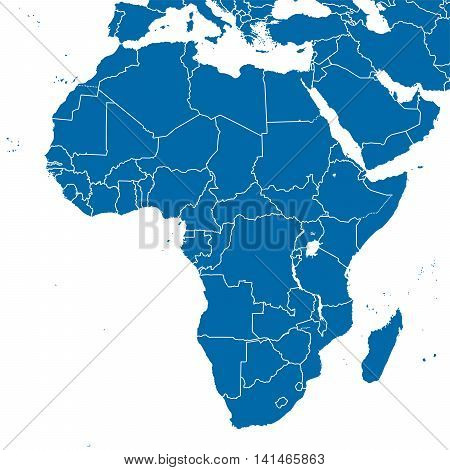 Africa political map and surrounding region with all countries and national borders. Blue outline illustration on white background.